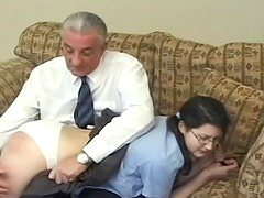 Old daddy in white t-shirt is punishing her round backdoor