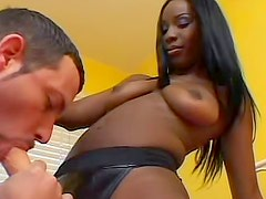 Black girl fingers his Latin ass