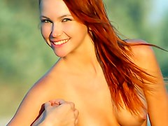 Redhead naked on the road