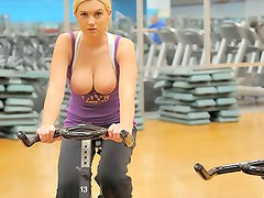 Teen busty's gym stripping session