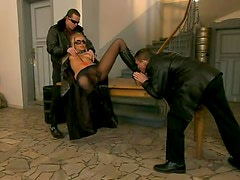 Horny Blonde Angelina Love Double Penetrated In MMF Threesome