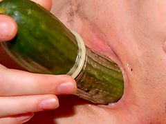 Little girl fucks huge cucumber