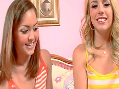 Teen Lexi and Jewel's horny pillow fight.