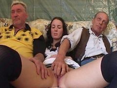 Senior Perverts Have A Threesome With A Kinky Brunette Teen