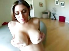 Sizzling babe Raylene gets her tits glazed with hot cum
