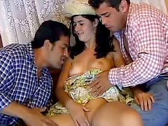 Latina farm girl and her lovers fuck in DP