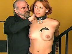 Little titty girl abused by bearded man