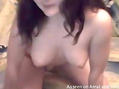 Busty babe stripping on a webcam
