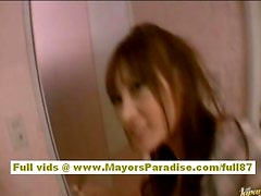 Asian girl rides on a hard cock and does blowjob