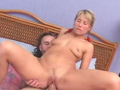 Blonde Babe Sucks Of Her Guy in a Very Kinky Video