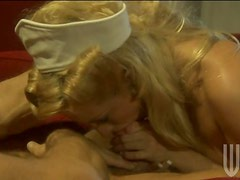 Hot Blonde Nurse In White Lingerie Pussy And Titty Fucking