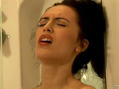 Horny And Busty Brunette Masturbating In The Shower