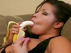 Latin Bitch Eats Banana Before B...
