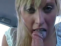 Hot Cory with super small tits is doing blowjob in the car