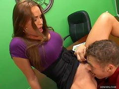Big cock sex with blazing hot office milf