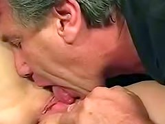 Old guy slides in and licks that cunt