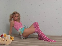 Cute Pigtailed Blonde Teen with Long Socks Masturbates