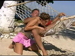 Hot Action With Lauren May In The Beach On a Hammock