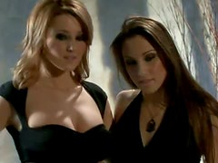 Busty Lesbians Thrust Sex Toys Into Their Wet Pussies