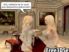 Three classy 3D cartoon hotties dyking it out