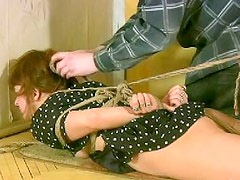 Awesome and tied brunette likes to have extreme exercises