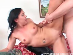 Shaved pussy girl fucked in the butt
