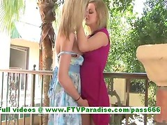 Lilah and Candece naughty blonde lesbian teenages kissng and getting naked