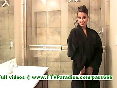 Alexa Loren sexy busty brunette babe getting naked and posing at the shower