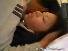 Japanese schoolgirl gets fingered and fucked
