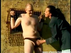 Bound and abused by a babe outdoors