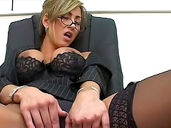 Classy office secretary teases us in expensive lingerie