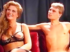 Classic porn of a blowjob contest on television
