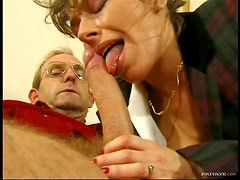Hairy Brunette Gets Fucked By An Old Man