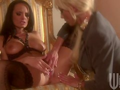 Brunette Babe Alektra Blue and Blonde Beauty Tanya James In Lesbian Vid