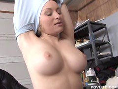 Sexy blonde Aiden Starr blowing and tit fucking a hard cock