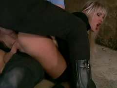 Blonde Uniformed Policewoman Gets Double Penetrated By Cop and Prisoner