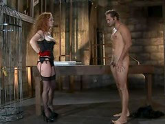 Extremely Hot Redhead With Black Lingerie Shows Femdom With A Big Cock