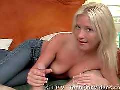 Sexy Blonde With Perky Boobs Gives a Hard Handjob to a Big Cock