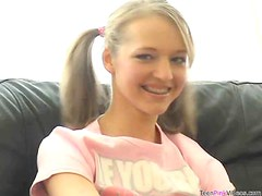 Gorgeous Pigtailed Blonde Teen Dildoes Her Sweet Pussy