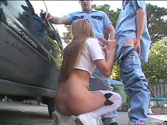 Two Cops Double Penetrate The Disturbing Blonde Schoolgirl Brandy Lyons