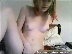 Punk girl masturbating and showing ass