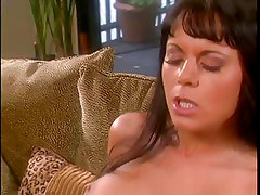 Sexy brunette with nice tits is fucked aggressively by monster cock on couch