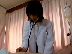 Hungry japanese nurse hottie gets a mouthful