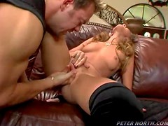 Amazing Chick in High Heels Fucks a Guy in the Sofa