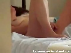 Desperate and horny chick masturbating on her bed