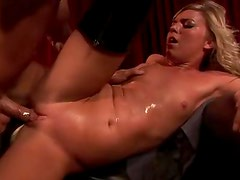 Kinky Blonde School Girl Ally Kay Goes Interracial In Her Latex Boots