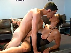 Classy milf in black lingerie gets laid