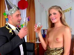 Happy blonde Cayenne Klein is here to eat fresh jizz after deep blowjob
