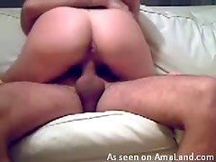 Fat cock freak gets nailed on the couch and loves it
