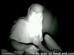 Night vision of hot babe in wild action here